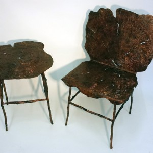 Sculpted Bronze Table & Chair