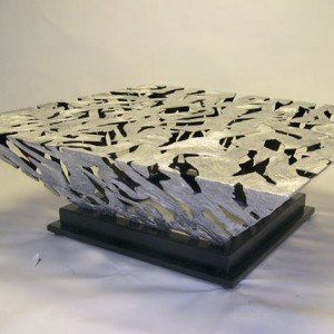 Silver & Black White Glacier Coffee Table
