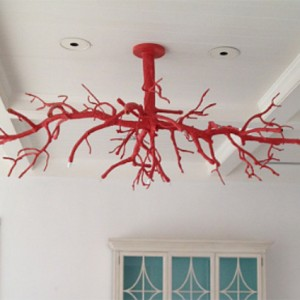 Red Coral Ceiling Light Fixture