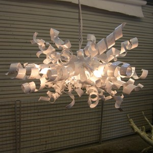 White Ribbon Ceiling Light